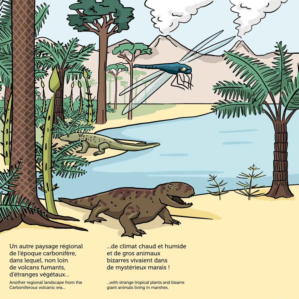 illustration digitale en couleurs sur la période du Carbonifère