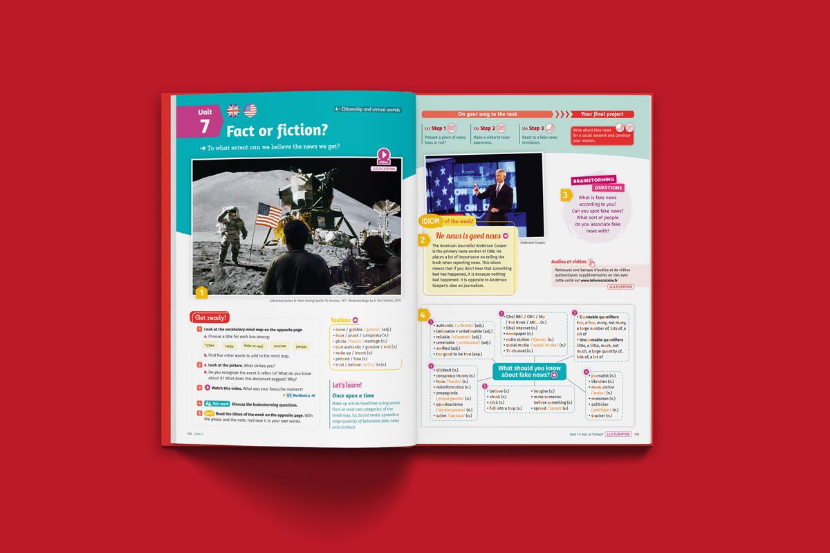 portfolio graphiste freelance : mise en page manuel scolaire
